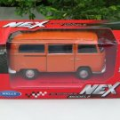 Welly NEX (11cm) Diecast Car VW Volkswagen T2 Camper Van 1972 Orange Classics Bus
