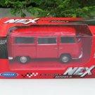 Welly NEX (11cm) Diecast Car VW Volkswagen T2 Camper Van 1972 Red Classics Bus