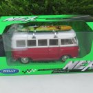 Welly 1-24 Diecast  Car Model VW Volkswagen T1 SAMBA Bus 1963 With Surfboard Classics Car
