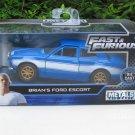 Jada 1-32 Fast & Furious Series - Brian's O'Connor FORD ESCORT RS2000 MK1 Blue Car 1974