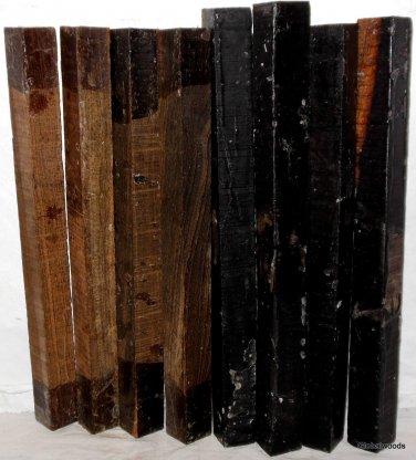 8 GABON EBONY & BOCOTE  Wood 1x1x12 Turning Stock For Magic Wands Photo Frames