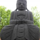 Hand Carved Suar Wood Black Sand Coated Sculpture of Lord Buddha In Meditation