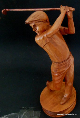 Carved Wood Sculpture Golfer Statue Crafted Wood Bust Golf Souvenir Memorabilia