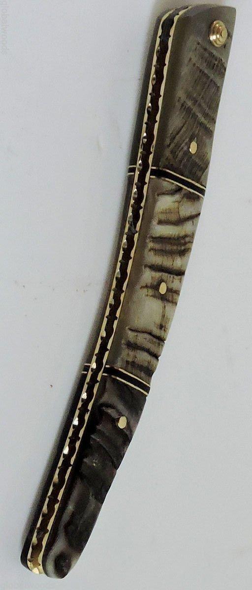 Straight Razor Ram's Horn Handles Brass Collars Brass Inlays Razor Restoration