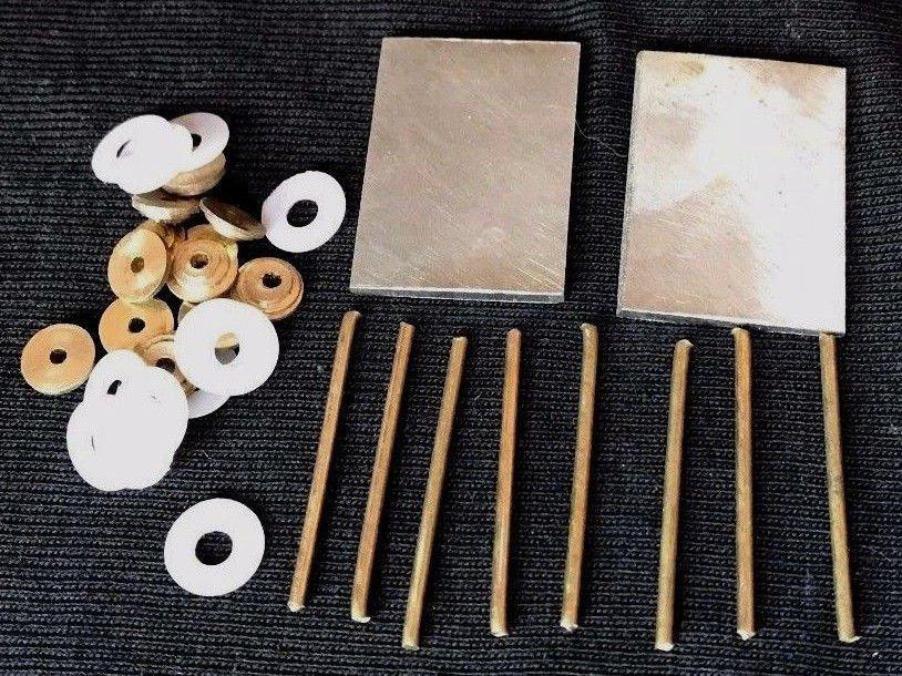 Straight Razor Hardware Parts 2 Steel Wedges 12 Brass Collars 8 Pins 12 Washers