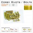 Knife Hardware 12 Brass 5/16 Corby Rivets & 4 Lanyard Tubes Knife Making Supply