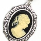 SALE - STEAMPUNK Cameo Necklace - LADY IN BLACK - Beautiful VINTAGE - Antique Silver Setting
