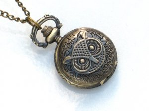 Steampunk - OWL POCKET WATCH - Necklace - Antique Brass - GlazedBlackCherry