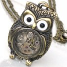 Steampunk - Time Flys MR OWL Pendant- Jeweled Watch Movement - Gears and Cogs - GlazedBlackCherry