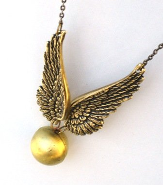 FLYING Golden Snitch - Locket Pendant Necklace - By GlazedBlackCherry