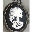 Steampunk Cameo Locket Necklace SKELETON LADY