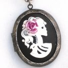 Steampunk Cameo Locket Necklace SKELETON LADY Pink Rose