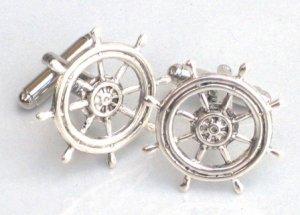 Steampunk SHIP'S WHEEL Cufflinks Boat Ship Nautical AS