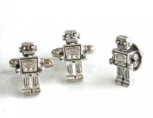 Steampunk MR ROBOT Cufflinks Tie Pin Retro Geekery