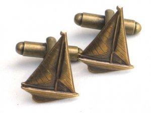 Steampunk GO SAILING Cufflinks Boat Ship Nautical AB