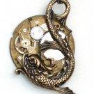 Steampunk SEA SERPENT Pocket Watch Movement Necklace