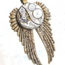 Steampunk TIME 2 FLY - Jeweled  Watch Movement Necklace