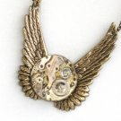 Steampunk TIMELESS FLIGHT Wings Watch Movement Necklace