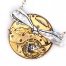 Steampunk DRAGONFLY Pocket Watch Movement Necklace