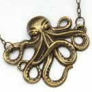 Steampunk OCTOPUS NECLACE - Antique Brass - Nautical