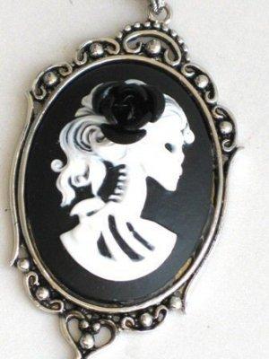 Steampunk Cameo Necklace - SKELETON LADY - Black Rose