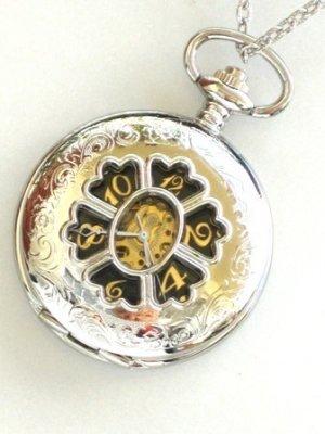 Steampunk MAD HATTER Pocket Watch Mechanical Chain