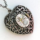 Steampunk LACE HEART LOCKET Necklace Watch Movement