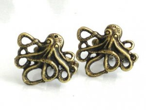 Steampunk OCTOPUS CUFFLINKS Antique Brass Nautical
