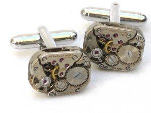 Steampunk WATCH MOVEMENTS CUFFLINKS vintage element mechanical