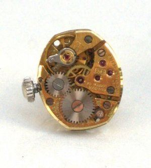 Steampunk Gold Face Vintage WATCH MOVEMENT Tie Pin Clip