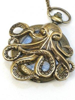 Steampunk OCTOPUS Nautical Pocket Watch Mechanical Necklace Antique Brass