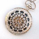 Steampunk WEB OF LOVE Pocket Watch Black Face Mechanical Necklace
