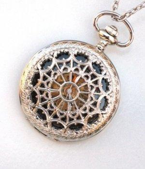 Steampunk WEB OF LOVE Pocket Watch Black Face Mechanical Necklace