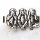 Steampunk - SPEAK SEE HEAR No Evil Men's Tie Clip Bar - Monkey - Antique Silver