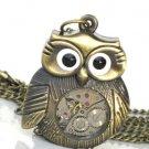 Steampunk MRS OWL Pendant Necklace Watch Movement