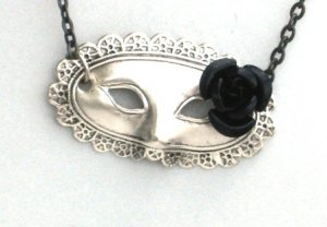 Steampunk MASQUERADE MASK Black Rose Necklace Silver