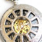 Steampunk WINDOWS Pocket Watch Black Face Mechanical Necklace