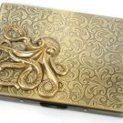 Steampunk Metal Octopus Cigarette Case Slim Wallet Large Card Case ABS2