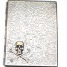 Steampunk Metal SKULL and CROSSBONES Cigarette Case Slim Wallet Large Card Case