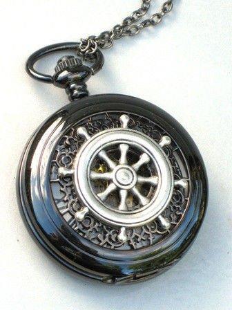 Steampunk Nautical SHIPS WHEEL Pocket Watch Mechanical Chain Jet Black