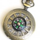 Steampunk WINDOWS in TIME COMPASS Pocket Watch Chain Steam Punk Necklace Fob