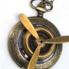 Steampunk PROPELLER Airplane Aviator Pocket Watch Mechanical Necklace Brass