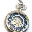 Steampunk VINTAGE FLOWER Pocket Watch Mechanical Chain Steam Punk Shiny Silver
