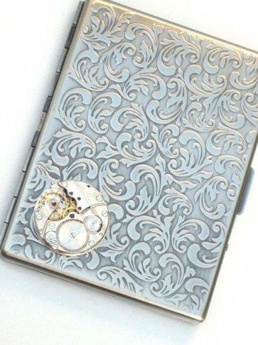 Steampunk Watch Movement Cigarette Case Slim Wallet Large Card Case ASS1