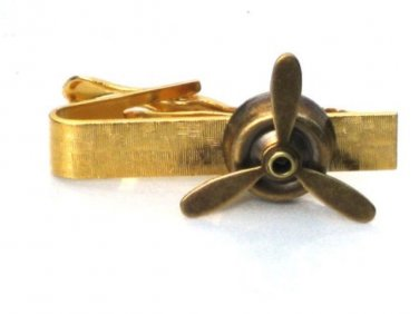 Steampunk Airplane PROPELLER Tie Clip Bar Pin Aviator Steam Punk Gold/Brass