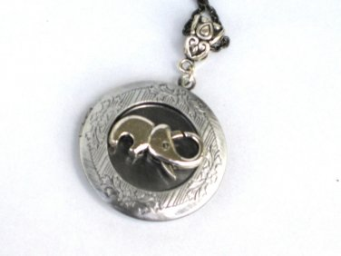 Steampunk Baby Elephant Necklace Pendant Locket Antique Silver