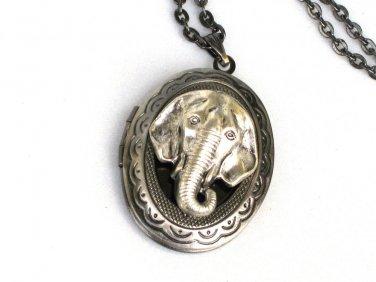 Steampunk Elephant Necklace Pendant Locket Antique Silver