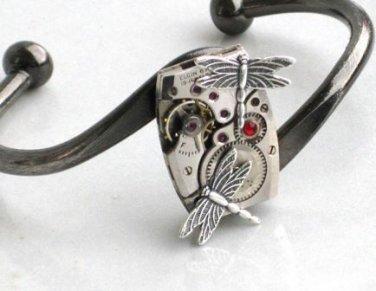 \'Steampunk DRAGONFLY Watch Movements Bangel Bracelet R