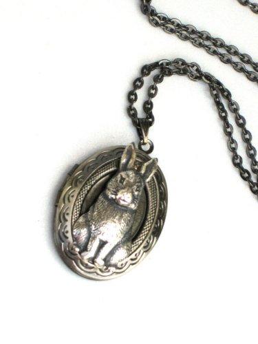 Steampunk Bunny Necklace Pendant Locket Antique Silver