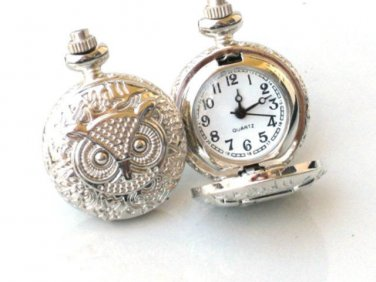 Steampunk OWL - POCKET WATCH CUFFLINKS cuff links Steam Punk Shiny Silver